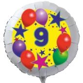 Luftballon aus Folie zum 9. Geburtstag, weisser Rundballon, Sterne und Luftballons, inklusive Ballongas