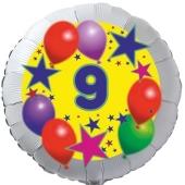 Sterne und Ballons 9, Luftballon aus Folie zum 9. Geburtstag, ohne Ballongas