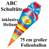 ABC Schultüte, großer Luftballon aus Folie mit Ballongas-Helium zu Schulanfang, Einschulung, Schulbeginn