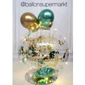 Tischdeko mit Aquaballon und LED Lichterkette