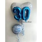 Folienballon Herz mit 3D Zahlen