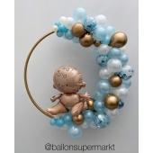 Luftballon-Deko Baby im Ring mit LED Licherkette