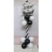 Deko-Säule zur Hochzeit Schwarz-Weiß