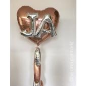 XL Herzballon in Rosegold mit Buchstaben JA