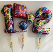 Bouquet mit Zahlen Ballons zum Geburtstag