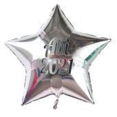 Abi 2021 silberner Stern-Luftballon aus Folie mit Helium Ballongas