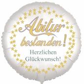 Abitur bestanden! Herzlichen Glückwunsch! Weißer Luftballon 45 cm rund