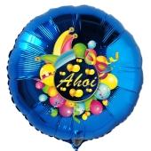 Ahoi, Luftballon aus Folie, Folienballon mit Ballongas, Rundballon blau zur Fasnacht