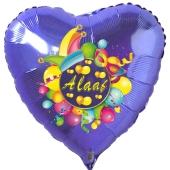 Alaaf, Luftballon aus Folie, Folienballon mit Ballongas, Herzballon blau zu Karneval