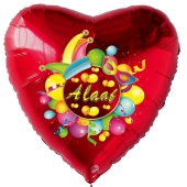 Alaaf, Luftballon aus Folie, Folienballon mit Ballongas, Herzballon rot zu Karneval