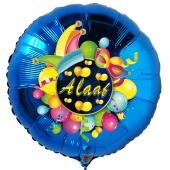 Alaaf, Luftballon aus Folie, Folienballon mit Ballongas, Rundballon blau zu Karneval