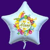 Alaaf, Luftballon aus Folie, Folienballon mit Ballongas, Sternballon weiß zu Karneval