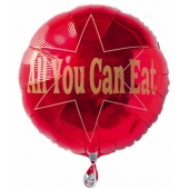 All you can eat, Rund-Luftballon aus Folie mit Helium Ballongas