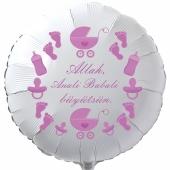 """Rundluftballon in Weiß, 45 cm """"Allah, Anali Babali büyütsün"""""""
