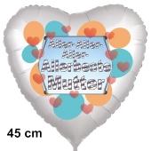 Allerbeste Mutter. Herzluftballon in Satinweiß, 45 cm, mit Helium