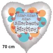 Allerbeste Mutter. Herzluftballon in Satinweiß, 70 cm, mit Helium