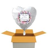 Alles Gute zu Deiner Kommunion, Herzluftballon in Weiß, Vintag-1, mit Helium