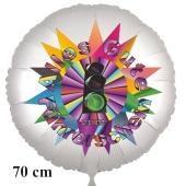 Alles Gute zum Führerschein! Ampel auf Grün. Satinweißer Luftballon, 70 cm, ohne Helium