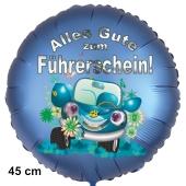 Alles Gute zum Führerschein! Satinbaluer Luftballon, 45 cm, inklusive Helium