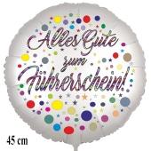 Alles Gute zum Führerschein! Satinweißer Luftballon, 45 cm, inklusive Helium
