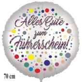 Alles Gute zum Führerschein! Satinweißer Luftballon, 70 cm, ohne Helium