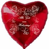 Alles Gute zum Hochzeitstag, roter Herzluftballon mit weißen Ornamenten und Herzen, inklusive Helium