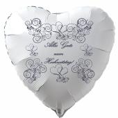 Alles Gute zum Hochzeitstag, weißer Herzluftballon mit violetten ornamenten und Herzen, inklusive Helium