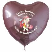 Alles Gute zum Schulanfang personalisierter rosa Luftballon mit Einhorn und Namen des Schulanfängers aus Folie inklusive Ballongas Helium