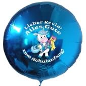 Alles Gute zum Schulanfang personalisierter blauer Luftballon mit Einhorn und Namen des Schulanfängers aus Folie inklusive Ballongas Helium