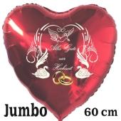 Alles Gute zur Hochzeit, 60 cm großer Herzluftballon in Rot mit Ballongas Helium