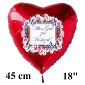 Alles Gute zur Hochzeit! Roter Herzluftballon aus Folie, 45 cm, inklusive Helium