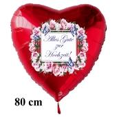 Alles Gute zur Hochzeit! Roter Herzluftballon aus Folie, 80 cm, inklusive Helium