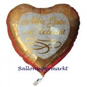 Luftballon aus Folie, Folienballon Herz, Alles Gute zur Hochzeit