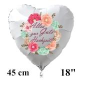 Alles Gute zur Hochzeit! Weißer Herzluftballon aus Folie, 45 cm, inklusive Helium