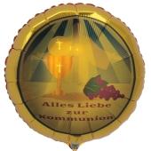 Goldener Luftballon aus Folie,: Alles Liebe zur Kommunion