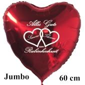 Alles Gute zur Rubinhochzeit, großer roter Herzluftballon, Geschenk zum 40. Hochzeitstag mit Namen der Eheleute