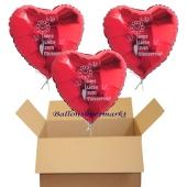 Alles Liebe zum Muttertag, 3 Herzluftballons aus Folie mit Helium zum Versand im Karton, Ballongruß, Glückwunsch zum Muttertag