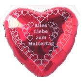 Alles Liebe zum Muttertag, Ballon aus Folie, roter Herzballon mit Ballongas Helium