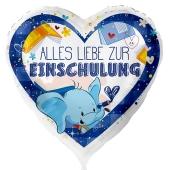 Alles Liebe zur Einschulung. Weißer Luftballon mit Ballongas, Blau,  Helium gefüllt zum Schulanfang