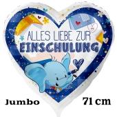 Alles Liebe zur Einschulung. Weißer Luftballon mit Ballongas, Blau, 71 cm, Helium gefüllt zum Schulanfang