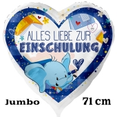 Alles Liebe zur Einschulung. Weißer Luftballon ohne Ballongas, Blau, 71 cm, Helium gefüllt zum Schulanfang