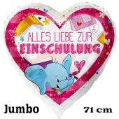 Alles Liebe zur Einschulung. Großer weißer Luftballon mit Ballongas Helium gefüllt zum Schulanfang