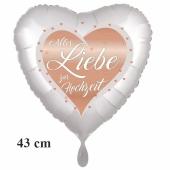 Alles Liebe zur Hochzeit - Heart, Herzluftballon mit Blumen und Schmetterlingen, ohne Helium