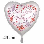 Alles Liebe zur Hochzeit, Herzluftballon mit Blumen und Schmetterlingen, ohne Helium