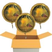 3 Stück goldene Luftballons aus Folie,: Alles Liebe zur Kommunion