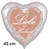 Alles Liebe zur Hochzeit, Luftballon aus Folie in Herzform, 45 cm, ohne Helium
