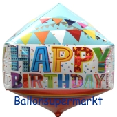 Anglez Folienballon, happy Birthday, inklusive Helium-Ballongas