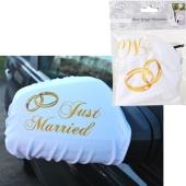 Autospiegel-Überzieher Just Married, Deko Hochzeitsauto