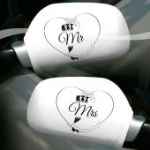 Autospiegel-Überzieher Mr & Mrs, Deko Hochzeitsauto