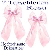 Autodekoration Hochzeit, 2 Türschleifen in Rosa